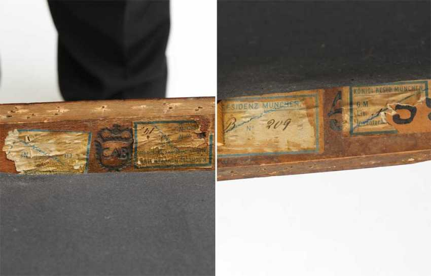KonvoluTiefe: 4 Stühle, BIEDERMEIER, Bayern um 1820, mit Klebeetikett Schloß Nymphenburg u. Residenz München, Kirschbaum partiell ebonisiert - photo 3