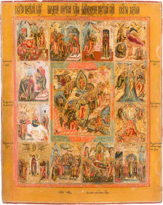 ICON THE RESURRECTION AND DESCENT INTO HELL OF CHRIST, AND THE TWELVE GREAT FEASTS IN MINIATURE PAINTING - photo 1