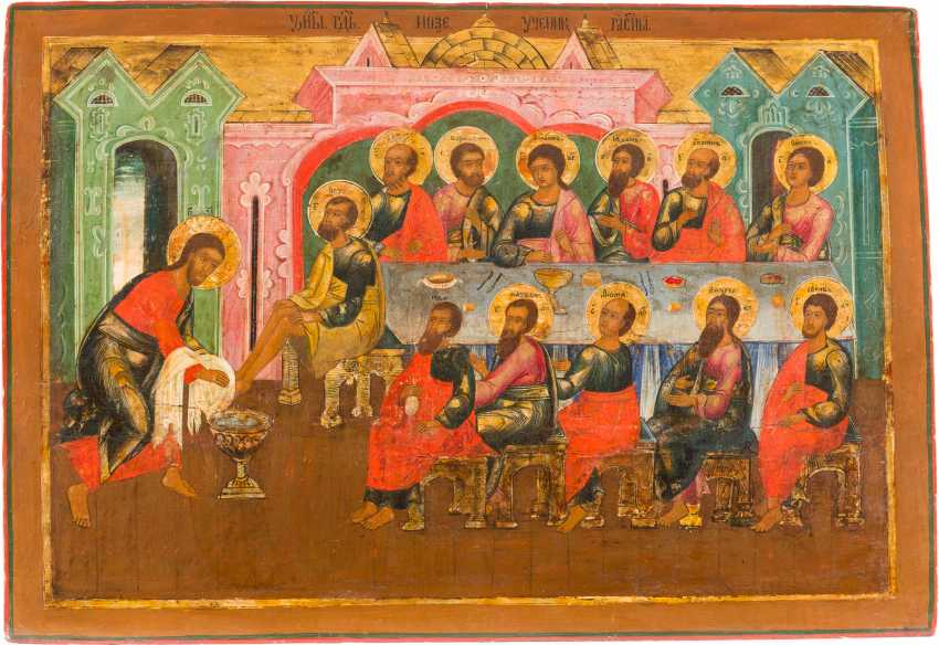 LARGE AND RARE ICON WITH the washing of THE feet - photo 1