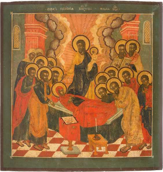 LARGE-FORMAT ICON WITH THE DORMITION OF THE MOTHER OF GOD FROM A CHURCH ICONOSTASIS - photo 1