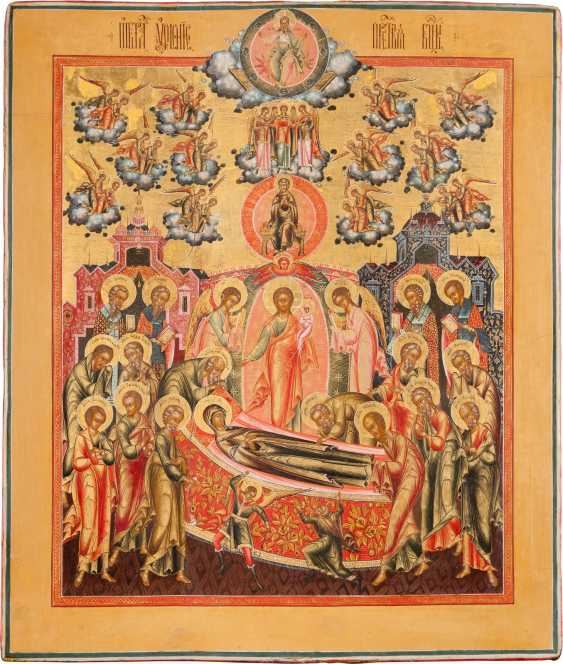 LARGE-SCALE AND VERY FINE ICON OF THE DORMITION OF THE MOTHER OF GOD IN A FINE MINIATURE PAINTING - photo 1