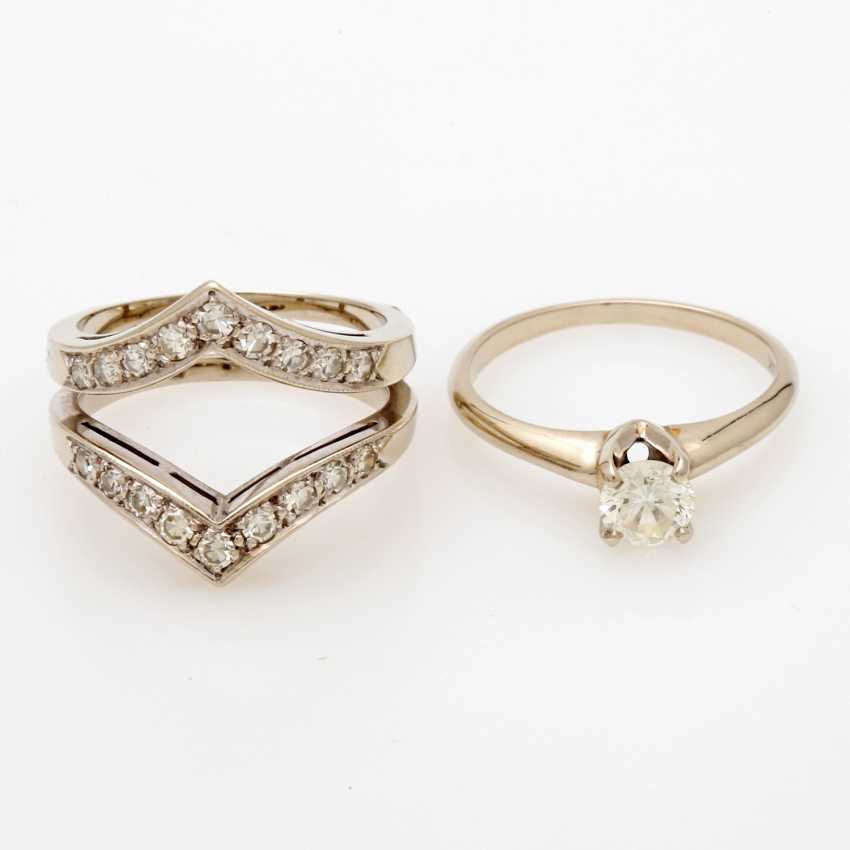 Ladies ring white gold 14 K, 2-piece - photo 1