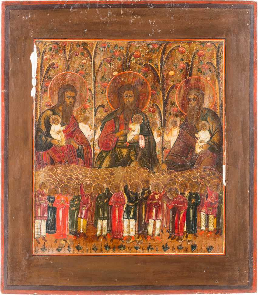 ICON WITH THE THREE FOREFATHERS IN PARADISE - photo 1