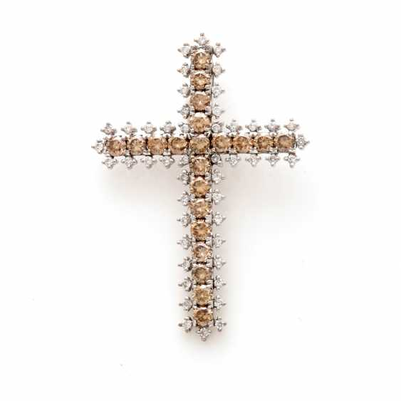 Cross Pendant White Gold 18 K - photo 3