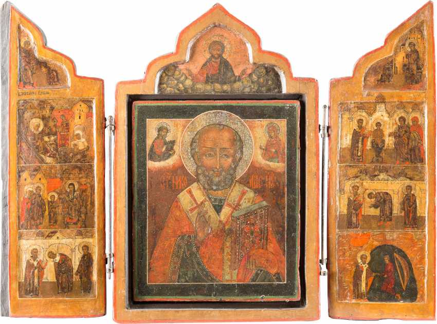LARGE TRIPTYCH WITH THE HOLY NICHOLAS OF MYRA WITH OKLAD AND SCENES OF HIS LIFE - photo 2