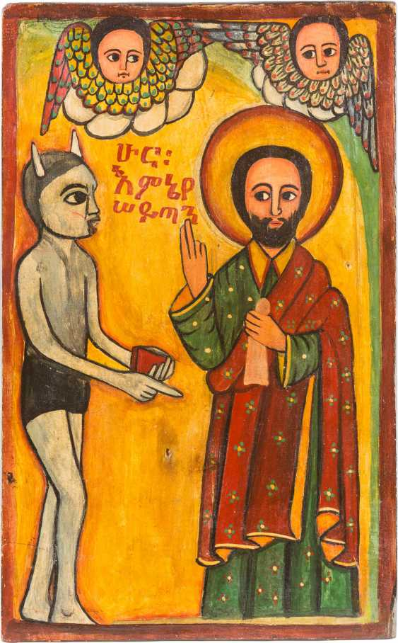 COPTIC ICON OF THE TEMPTATION OF CHRIST - photo 1