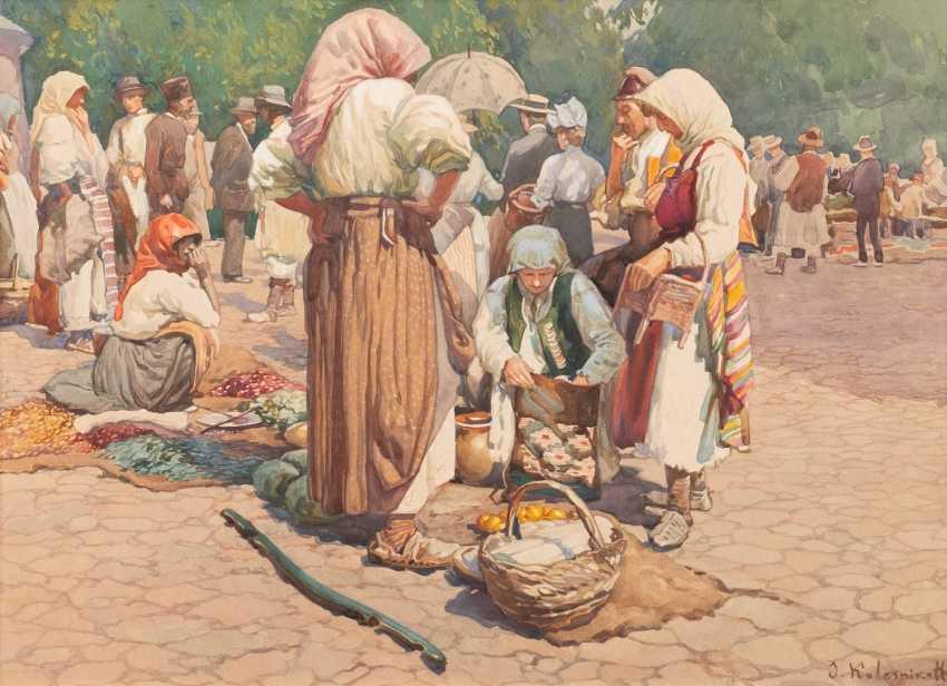 СТЕПАН ФЕОДОРОВИЧ KOLESNIKOFF 1879 Adreanopol/ Украина - 1955 Белград рынок сцены - фото 1