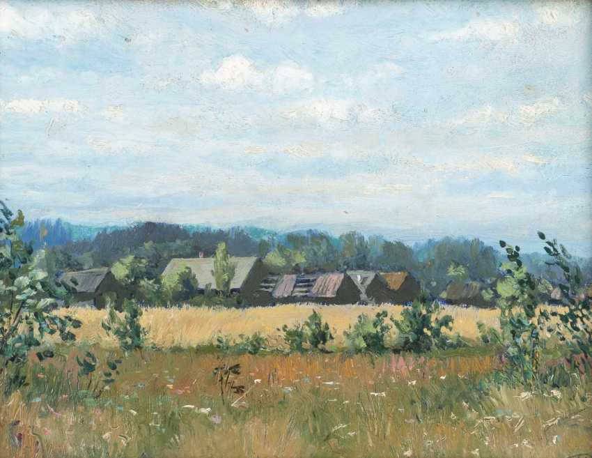 RUSSIAN landscape painter Active at the beginning of the 20th century. Century Wide landscape with farmhouses - photo 1