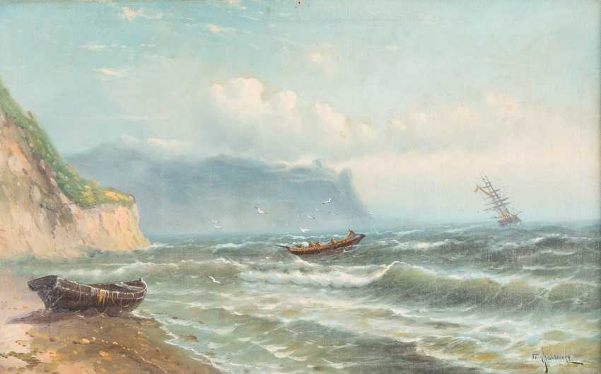 RUSSIAN MARINE-PAINTER active 2nd half of the 19th century Boat on a stormy sea - Foto 1