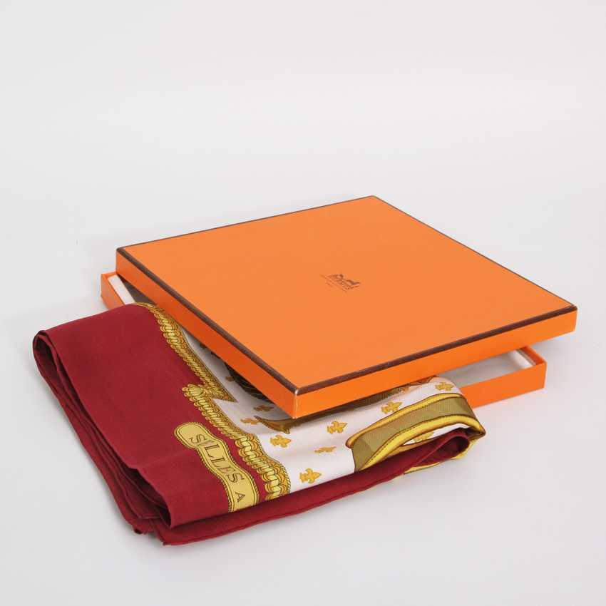 "HERMES VINTAGE elegant gray Seidencarré STOOL ""HAS COVER"", Maße ac: 90x90cm. - photo 2"