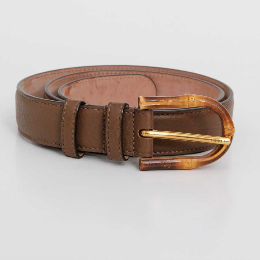 """GUCCI noble leather belt, """"BAMBOO"""", length 85cm. - photo 1"""