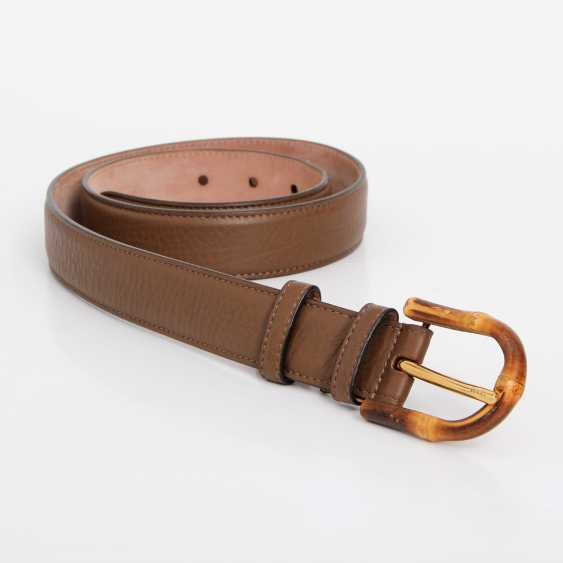 """GUCCI noble leather belt, """"BAMBOO"""", length 85cm. - photo 2"""