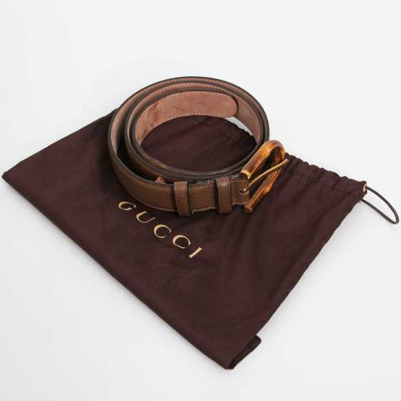 """GUCCI noble leather belt, """"BAMBOO"""", length 85cm. - photo 3"""