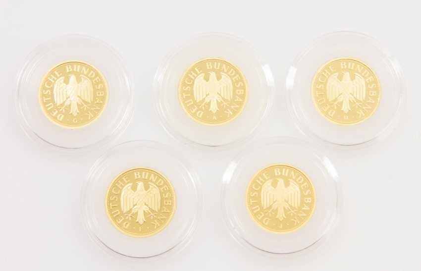 BRD/GOLD - 5 x 1 Deutsche Mark in Gold, - photo 2