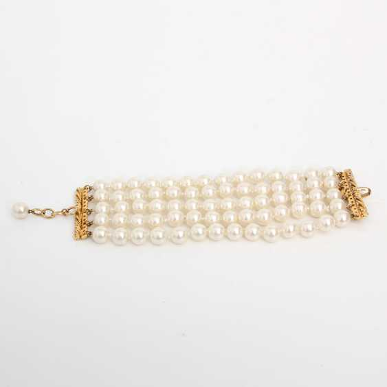 CHANEL exclusive fashion jewelry-pearl bracelet; length: about 18-20cm; - photo 1