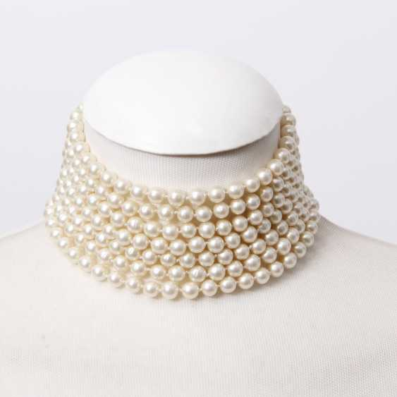 CHANEL exclusive fashion jewelry-pearl necklace, length: 31-35,5 cm; - photo 1