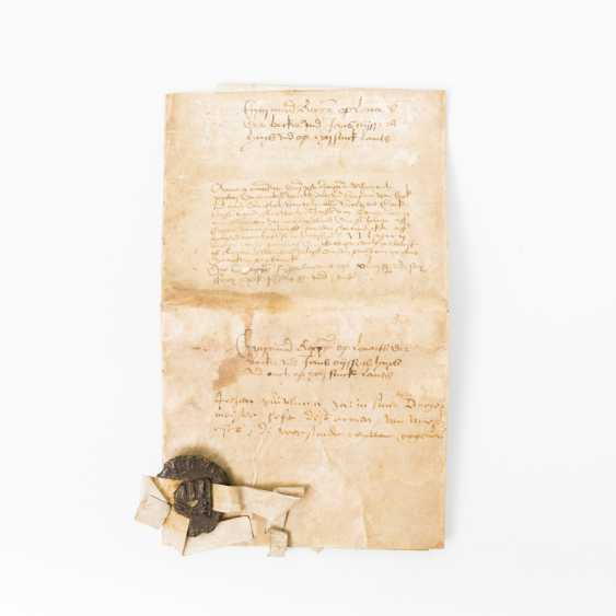 2-piece hist. Deed with wax seal, early modern times - content is unclear - photo 1