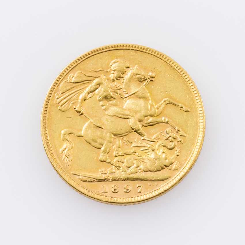 Australia Gold 1 Sovereign 1897/M, Victoria, ss., minimal notches avers, - photo 2