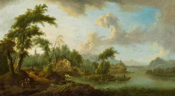 Идиллическая речной пейзаж с водяной мельницей - фото 1
