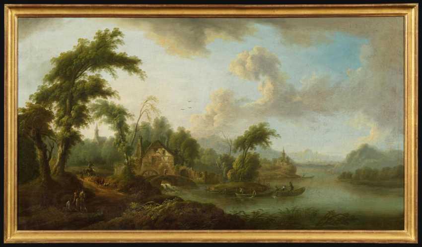 Идиллическая речной пейзаж с водяной мельницей - фото 2
