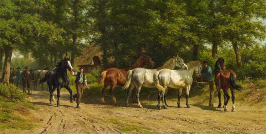 Horse group on the forest road - photo 1