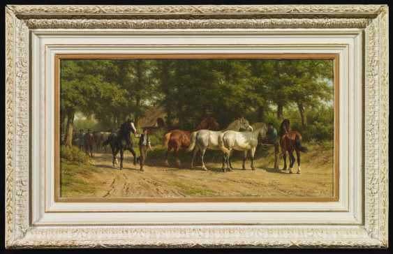 Horse group on the forest road - photo 2