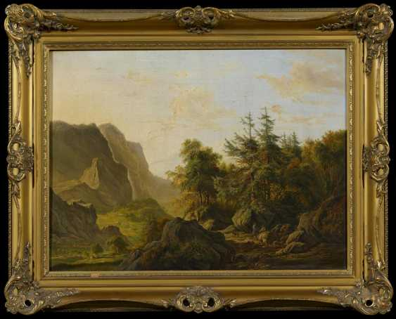 High mountain landscape with hunters in the evening light - photo 2