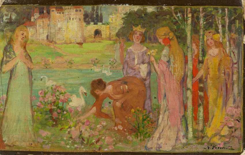 Ladies-in-waiting in the castle garden - photo 1