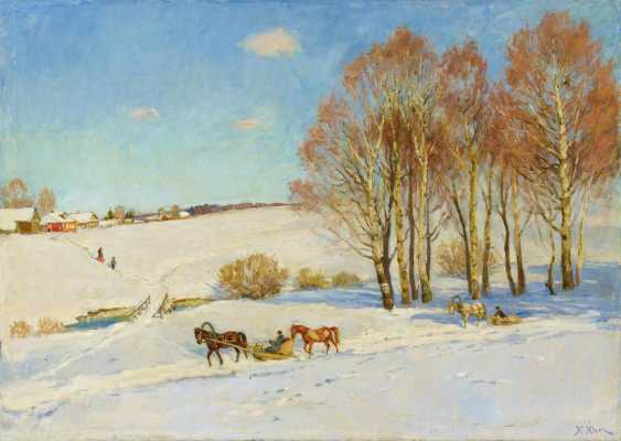 Wide winter landscape with horse-drawn sleigh - photo 1