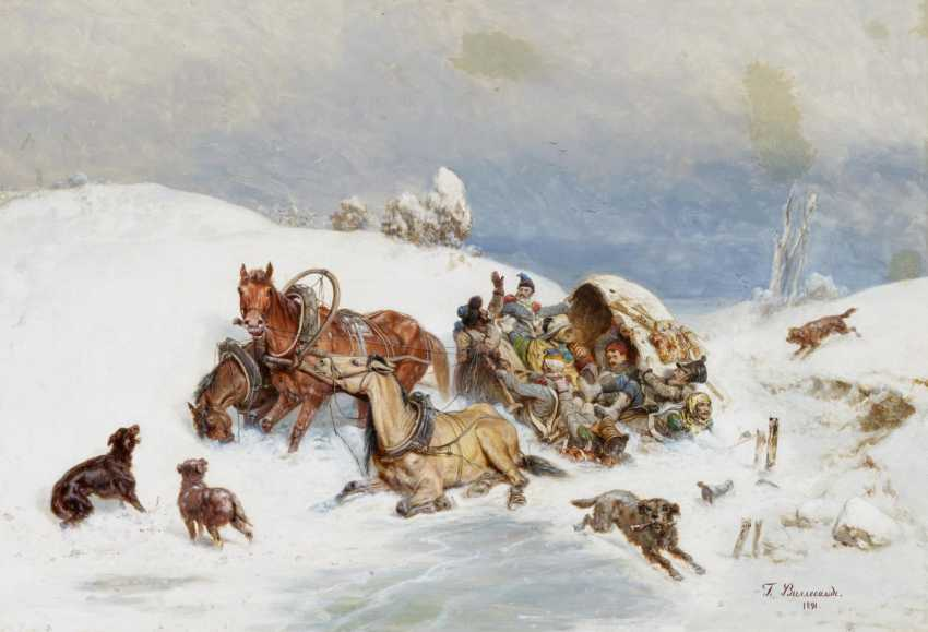 Troika with a sleigh in the deep snow - photo 1