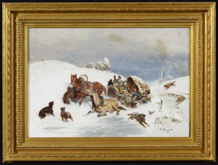 Troika with a sleigh in the deep snow - photo 2