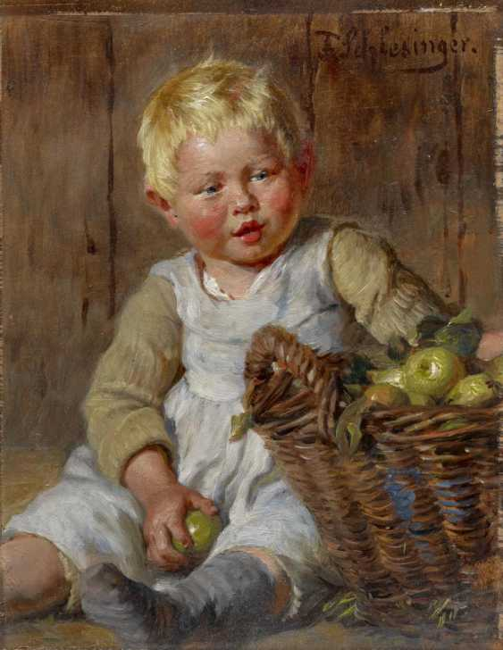 Little Boy with Apple basket - photo 1