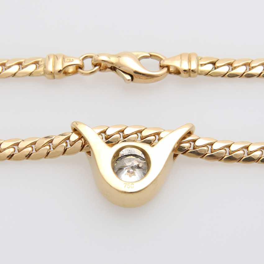 Flat armor necklace with diamond pendant - photo 2