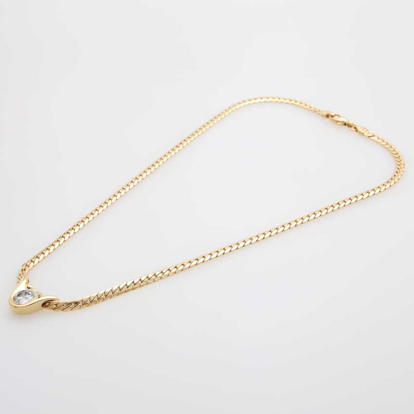Flat armor necklace with diamond pendant - photo 3
