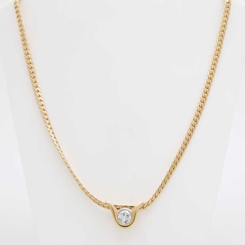 Flat armor necklace with diamond pendant - photo 4