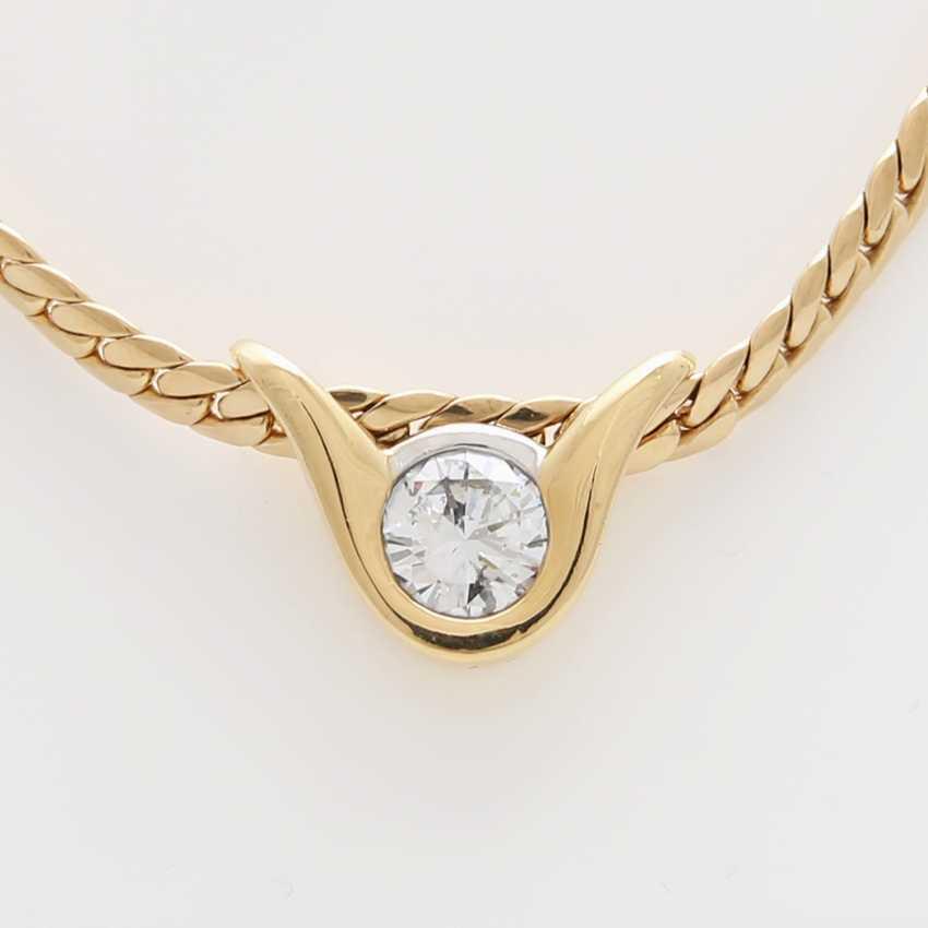 Flat armor necklace with diamond pendant - photo 1