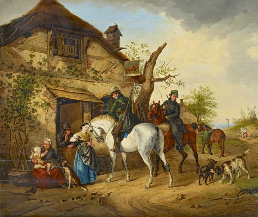 """Two riders in front of the tavern """"The red lion, in Hans Suswein"""" - photo 1"""