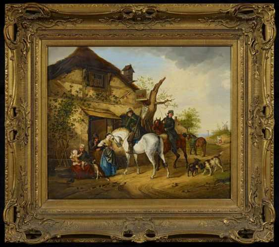 """Two riders in front of the tavern """"The red lion, in Hans Suswein"""" - photo 2"""