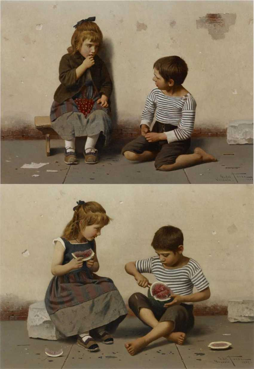 Two paintings: a.) children with melon - photo 1