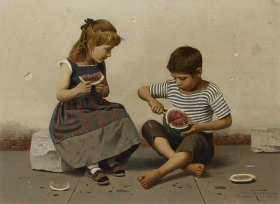Two paintings: a.) children with melon - photo 2