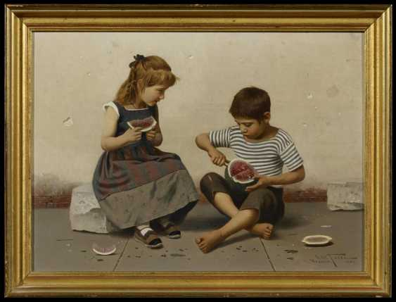 Two paintings: a.) children with melon - photo 3
