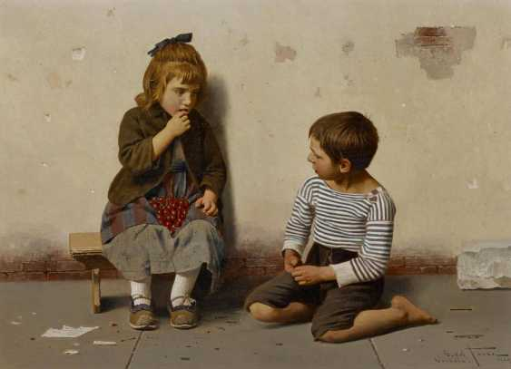 Two paintings: a.) children with melon - photo 5