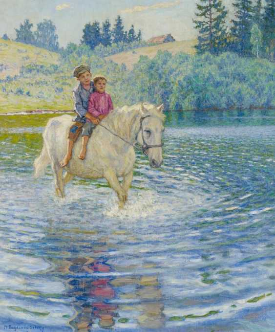 Spring landscape with two boys on your horse - photo 1
