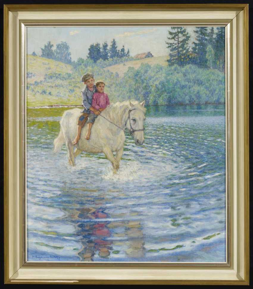 Spring landscape with two boys on your horse - photo 2