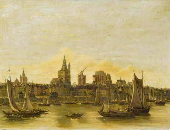 Old view of Cologne with view over the Rhine to the bustling harbour, Saint Martin, and the unfinished Cathedral over the rooftops - photo 1