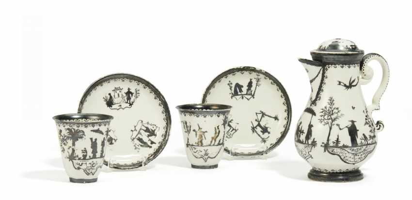 A coffee pot, two Cup cups and bowls with silver decor - photo 1