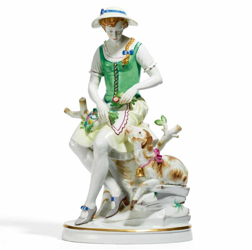 Large figure of a young shepherdess - photo 1
