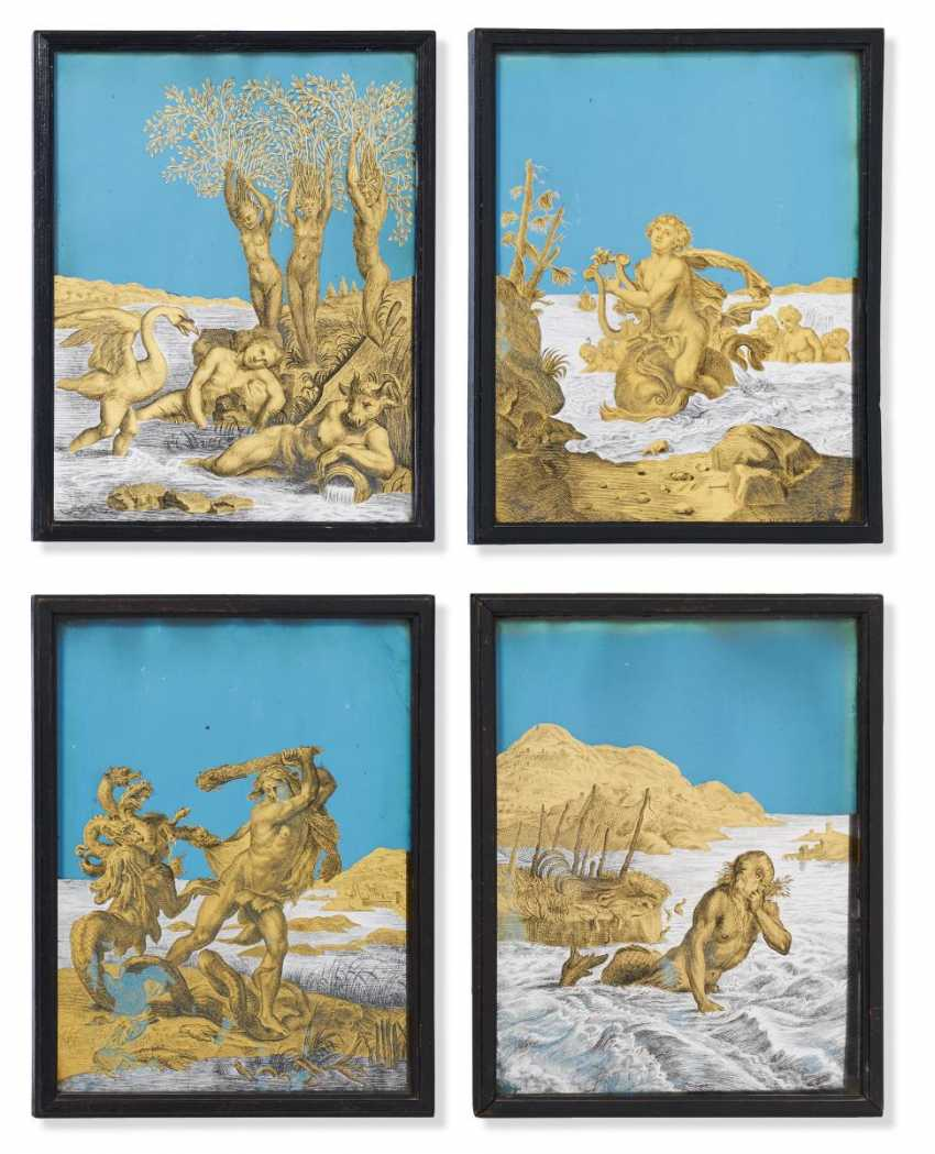 Sequence of four Eglomisé-behind-glass paintings with mythological scenes - photo 1