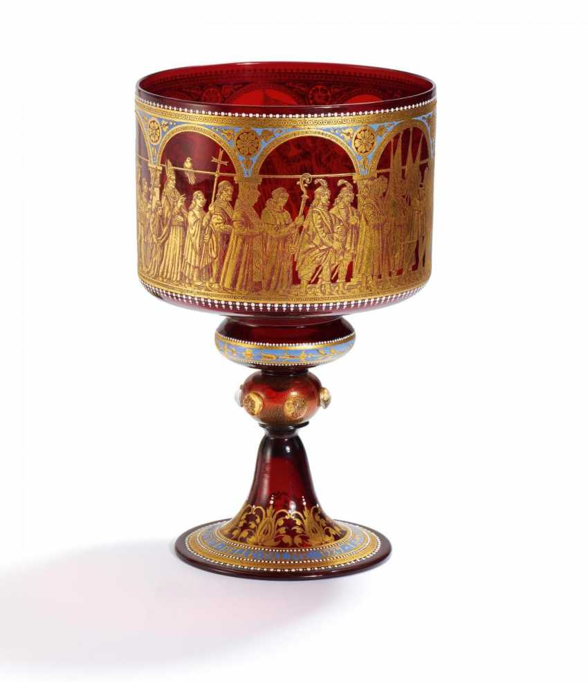 Great historicism ceremonial Cup with the procession of the Doge - photo 1