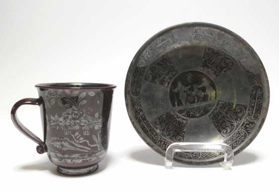 Mug and bowl with Chinoiserie and hunting scene - photo 1